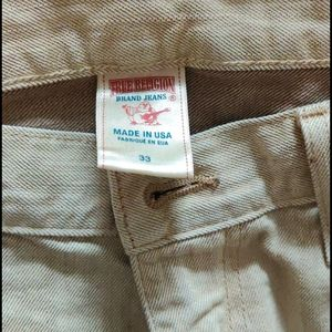 True religion tan denim jeans